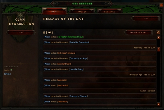 Diablo 3 - Clan News