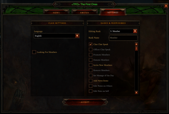 Diablo 3 - Clan Settings